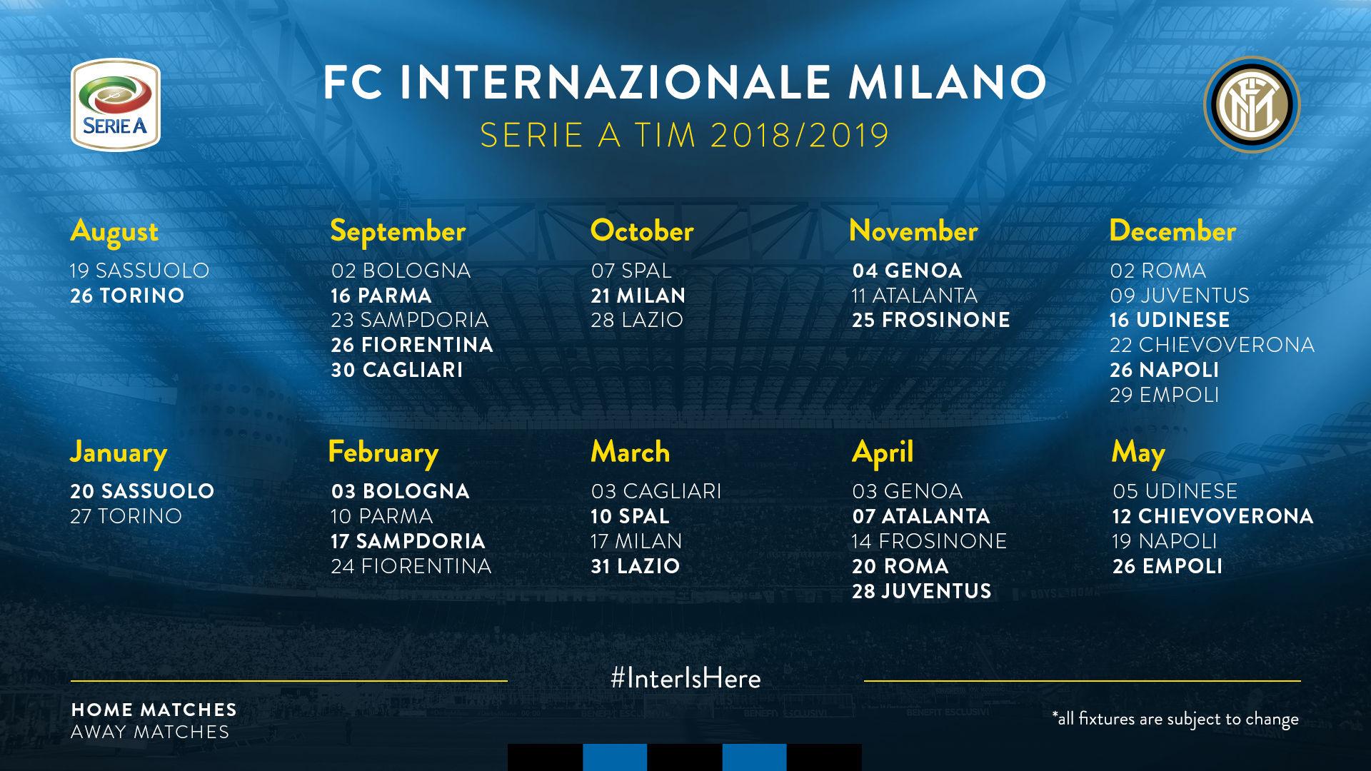 Calendario Serie A Tim 2019.Serie A Tim 2018 2019 Il Calendario Dell Inter Clubcampani