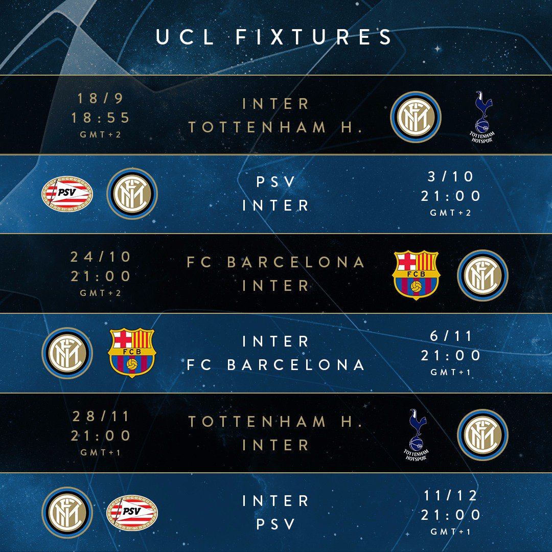 Interit Calendario.Ucl 2018 2019 Il Calendario Dell Inter Clubcampani