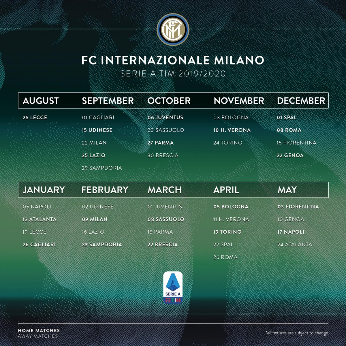 Calendario Roma Serie A 2020.Serie A Tim 2019 2020 Il Calendario Dell Inter Clubcampani